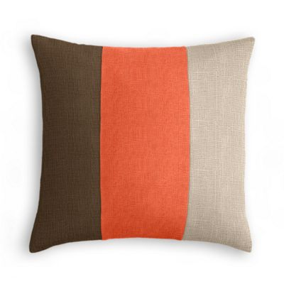 Chocolate Brown, Coral & Light Taupe Linen Color Block Pillow