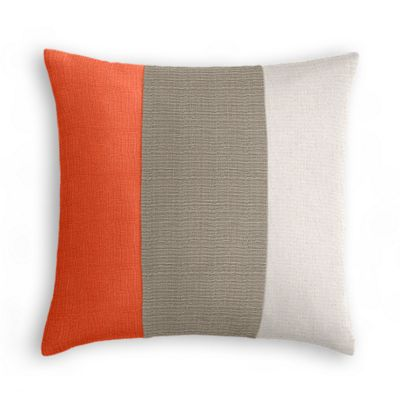 Coral, Taupe & Pale Gray Linen Color Block Pillow