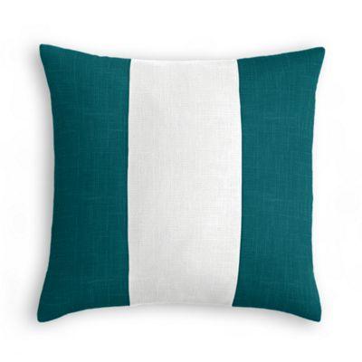 Dark Teal, White & Dark Teal Linen Color Block Pillow