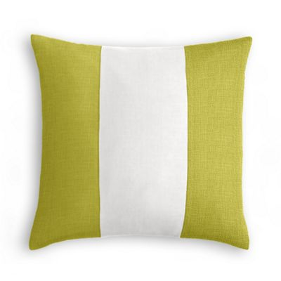 Chartreuse, White & Chartreuse Linen Color Block Pillow