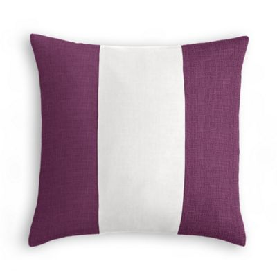 Dark Purple, White & Dark Purple Linen Color Block Pillow