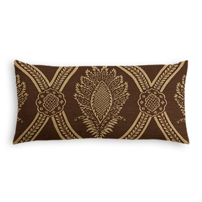 Brown Medallion Trellis Lumbar Pillow