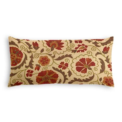 Beige & Red Suzani Lumbar Pillow