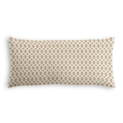 Beige Mini Trellis Lumbar Pillow
