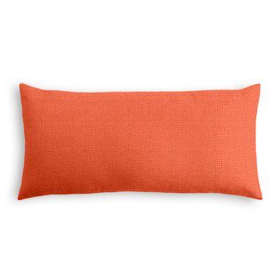 Solid Coral Linen Lumbar Pillow