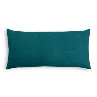Dark Teal Linen Lumbar Pillow