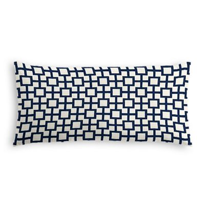 Navy Blue Square Trellis Lumbar Pillow