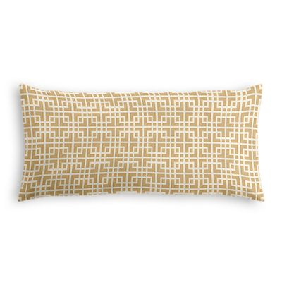 Beige Square Lattice Lumbar Pillow