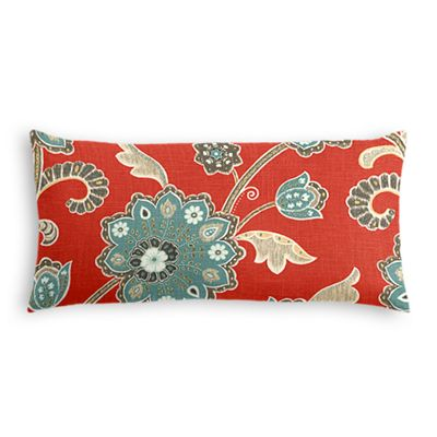 Aqua & Red Floral Lumbar Pillow