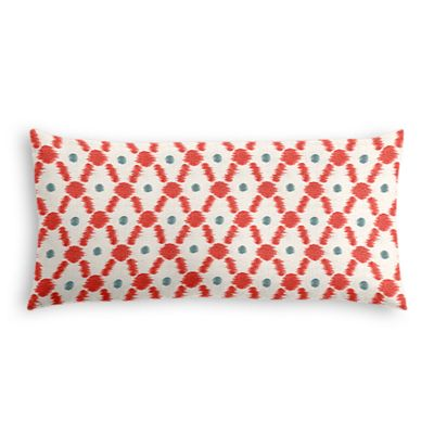 Red Ikat Diamond Lumbar Pillow