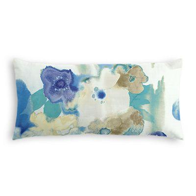 Aqua & Blue Watercolor Lumbar Pillow