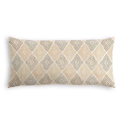 Beige Diamond Block Print Lumbar Pillow