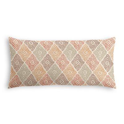 Orange Diamond Block Print Lumbar Pillow