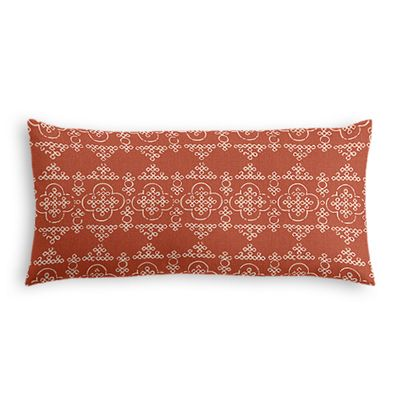 Orange Quatrefoil Block Print Lumbar Pillow