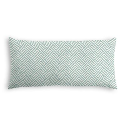 Aqua Geometric Maze Lumbar Pillow