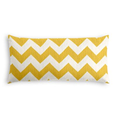 Bright Yellow Chevron Lumbar Pillow