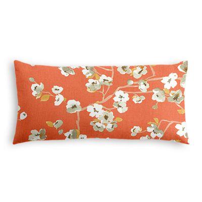 Coral Orange Cherry Blossom Lumbar Pillow