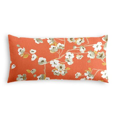 Orange Cherry Blossom Lumbar Pillow
