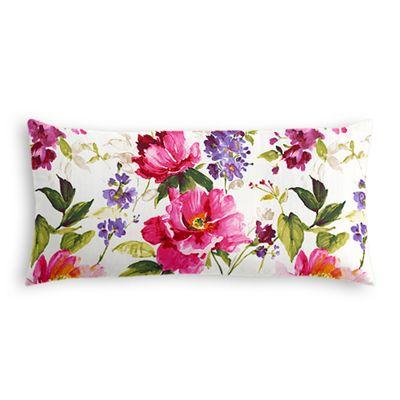 Chintz-like Pink Floral Lumbar Pillow