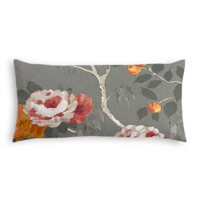 Painterly Pink & Gray Floral Lumbar Pillow