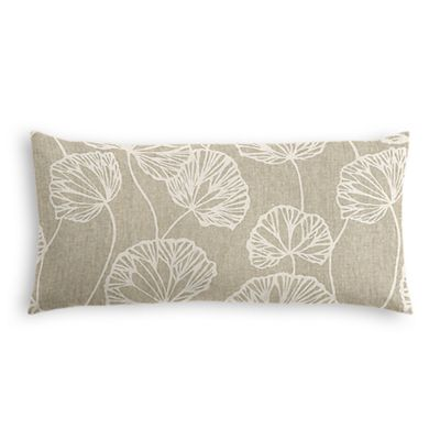 Beige Fan Leaf Lumbar Pillow