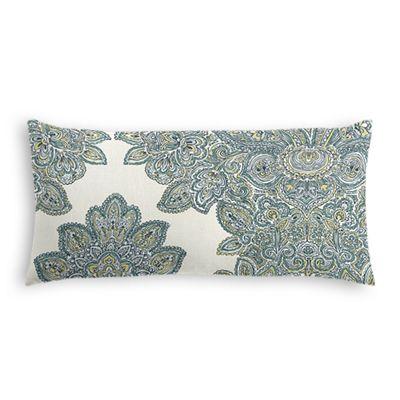 Paisley-Style Aqua Damask Lumbar Pillow