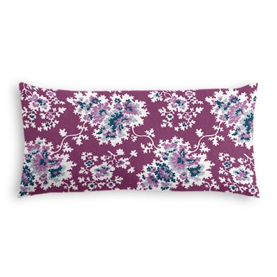 Purple & Teal Leaf Lumbar Pillow