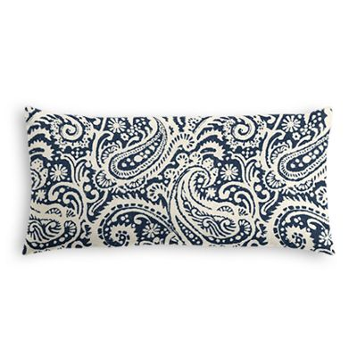 Navy Blue Paisley Lumbar Pillow