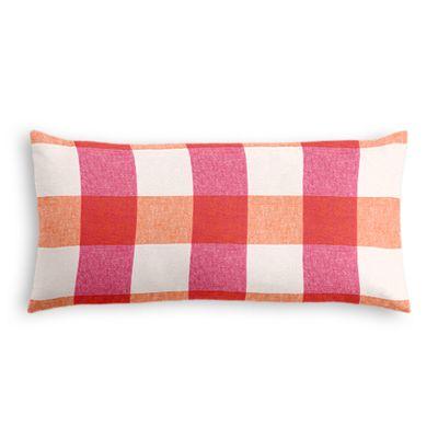 Pink & Orange Buffalo Check Lumbar Pillow