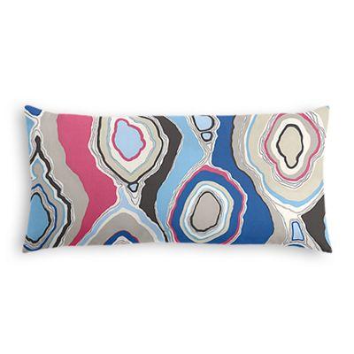 Blue & Hot Pink Abstract Lumbar Pillow