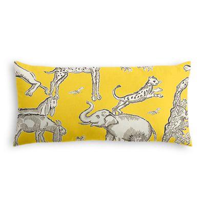 Yellow & Gray Zoo Animal Lumbar Pillow