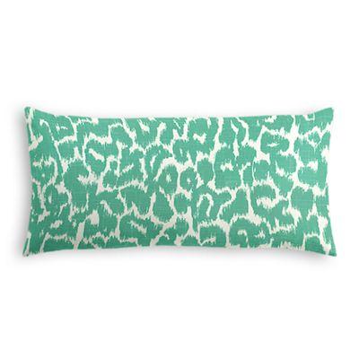 Bright Green Leopard Print Lumbar Pillow