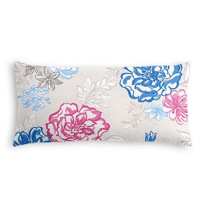 Blue & Pink Floral Lumbar Pillow