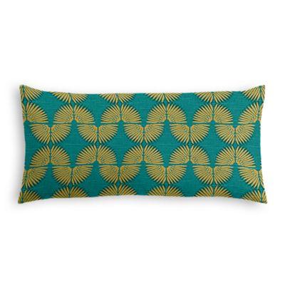 Metallic Gold & Teal Fan Lumbar Pillow