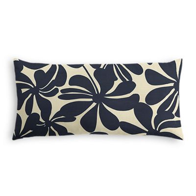 Navy Graphic Floral Lumbar Pillow