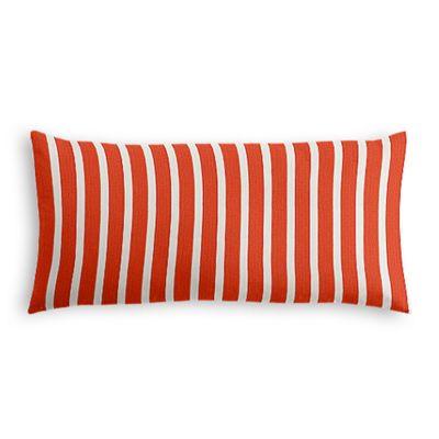 Flame Red Thin Stripe Lumbar Pillow