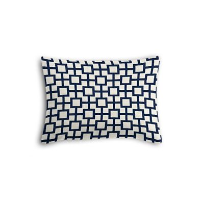 Navy Blue Square Trellis Boudoir Pillow