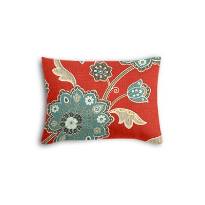 Aqua & Red Floral Boudoir Pillow