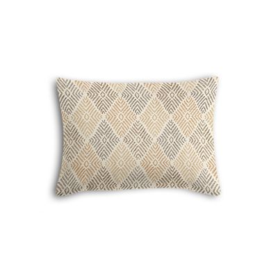 Beige Diamond Block Print Boudoir Pillow