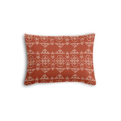 Orange Quatrefoil Block Print Boudoir Pillow