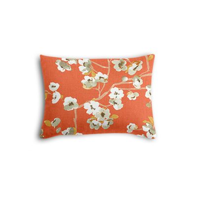 Orange Cherry Blossom Boudoir Pillow