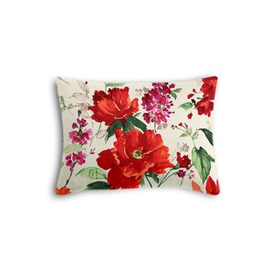 Bold Green & Red Floral Boudoir Pillow