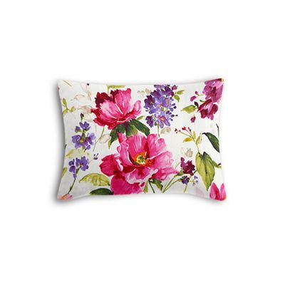 Chintz-like Pink Floral Boudoir Pillow