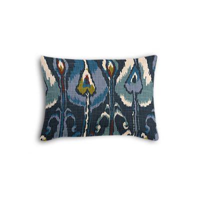 Navy Blue Ikat Boudoir Pillow
