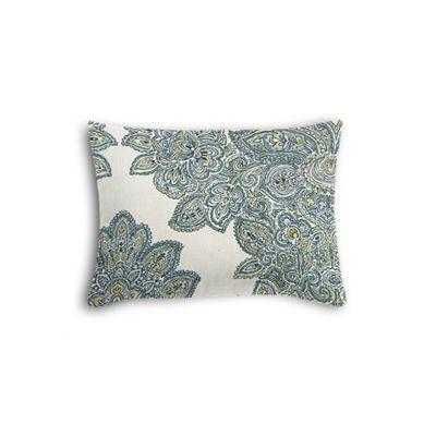 Paisley-Style Aqua Damask Boudoir Pillow