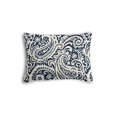 Navy Blue Paisley Boudoir Pillow