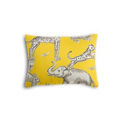 Yellow & Gray Zoo Animal Boudoir Pillow