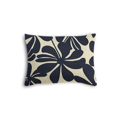 Navy Graphic Floral Boudoir Pillow