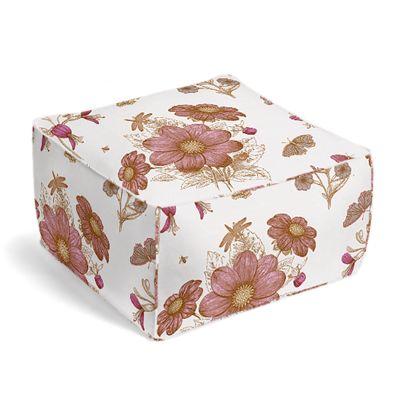 Sketched Pink Floral Pouf