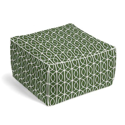 Modern Green Trellis Pouf, Square